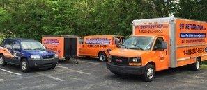 Water Damage Restoration Trucks And Van And Trailer