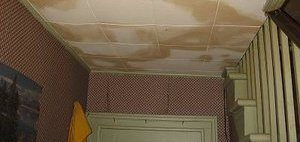 Water Stains and Damage On Ceiling